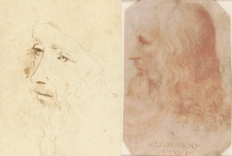 A gauche : Portrait de Léonard de Vinci par l'un de ses assistants, c.1517-18. A droite : Francesco Melzi, portait de Léonard de Vinci, 27,5 x 19 cm, c.1515-18 © Photo Royal Collection Trust.