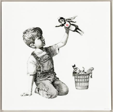 Banksy, Game Changer, 2020, huile sur toile, 91 x 91 cm. © Christie's Images Ltd
