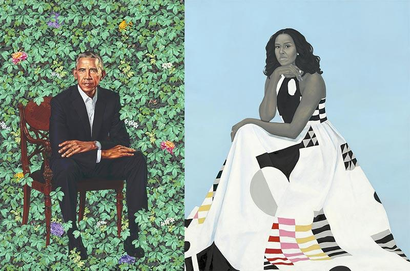 Kehinde Wiley, <em>Barack Obama</em>, et Amy Sherald, <em>Michelle LaVaughn Robinson Obama</em>, 2018, huiles sur toiles, collection National Portrait Gallery, Smithsonian Institution, Washington