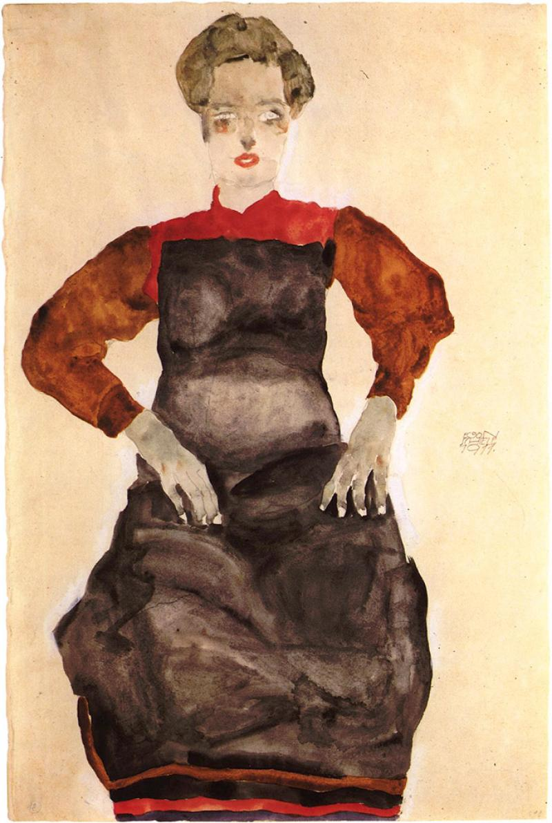 Egon Schiele, Woman in black pinafore, 1911