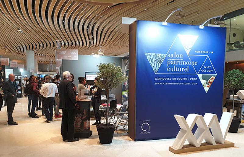 Entrée du 25e Salon international du patrimoine culturel au Carrousel du Louvre © Photo Clotilde Bednarek pour Le Journal des Arts, 2019